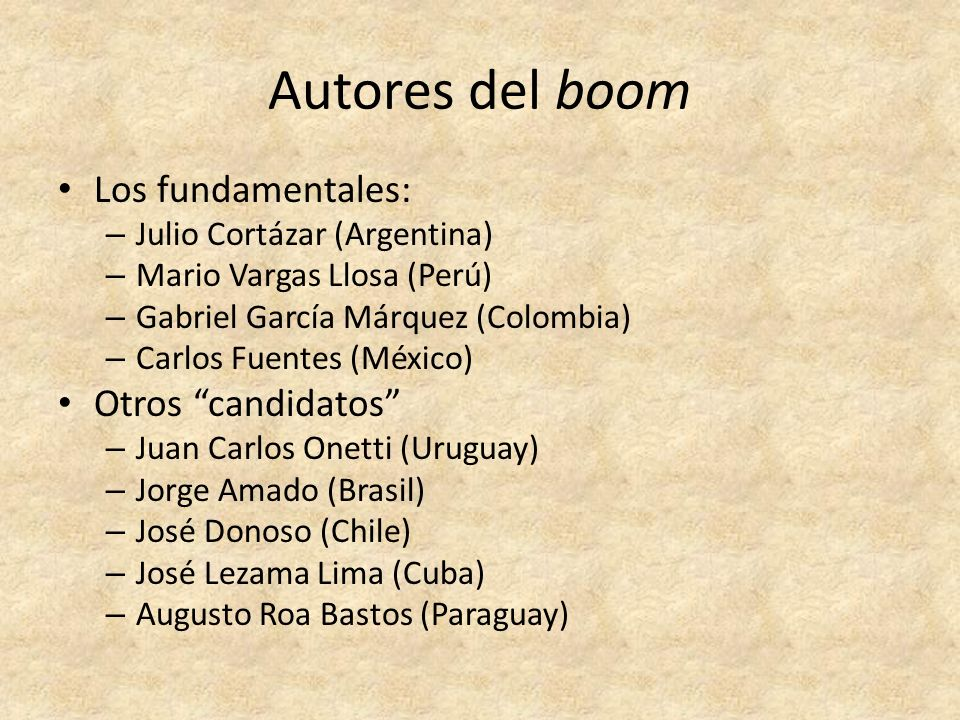 Autores del boom Los fundamentales: Otros candidatos