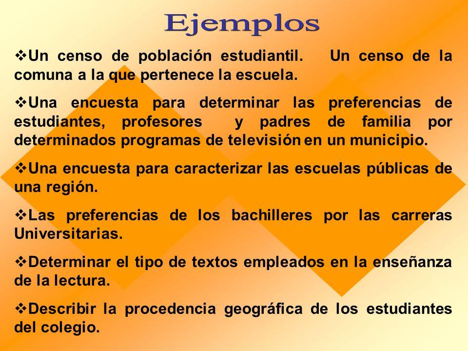 Ejemplos Un censo de población estudiantil. Un censo de la comuna a la que pertenece la escuela.