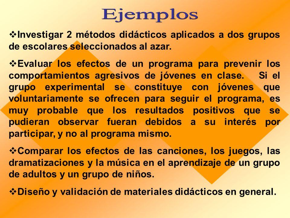 Ejemplos Investigar 2 métodos didácticos aplicados a dos grupos de escolares seleccionados al azar.