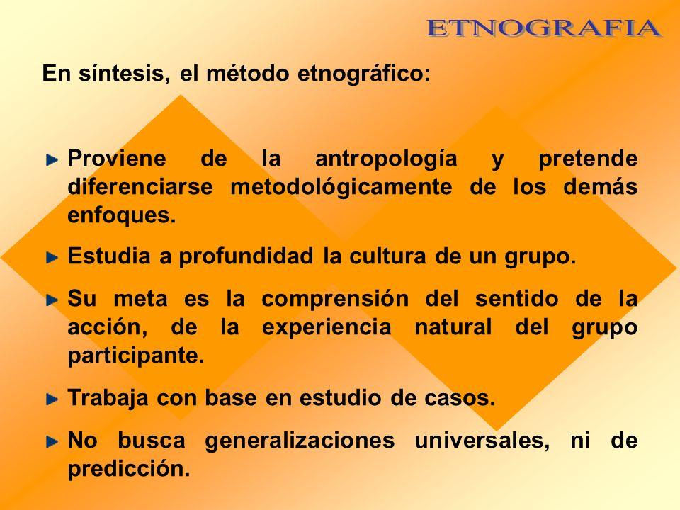 ETNOGRAFIA En síntesis, el método etnográfico: