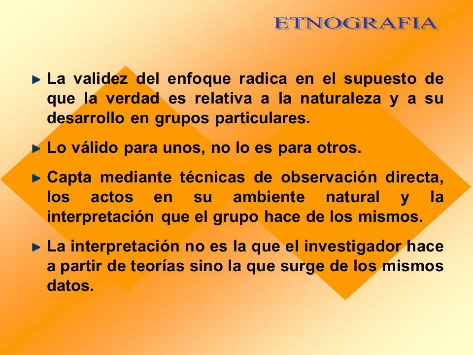 ETNOGRAFIA La validez del enfoque radica en el supuesto de que la verdad es relativa a la naturaleza y a su desarrollo en grupos particulares.