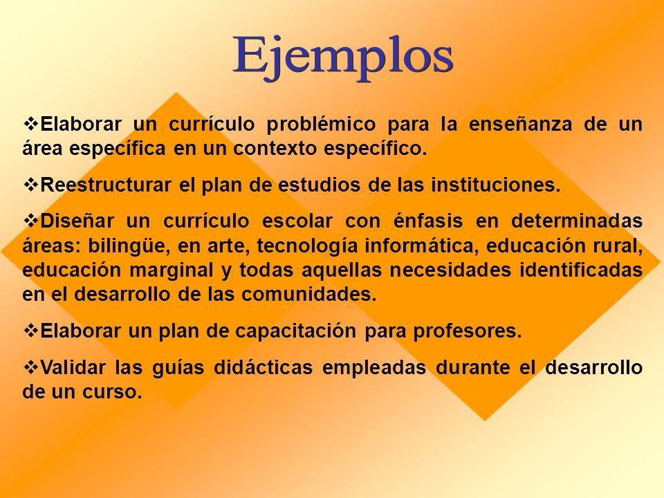 Ejemplos Elaborar un currículo problémico para la enseñanza de un área específica en un contexto específico.