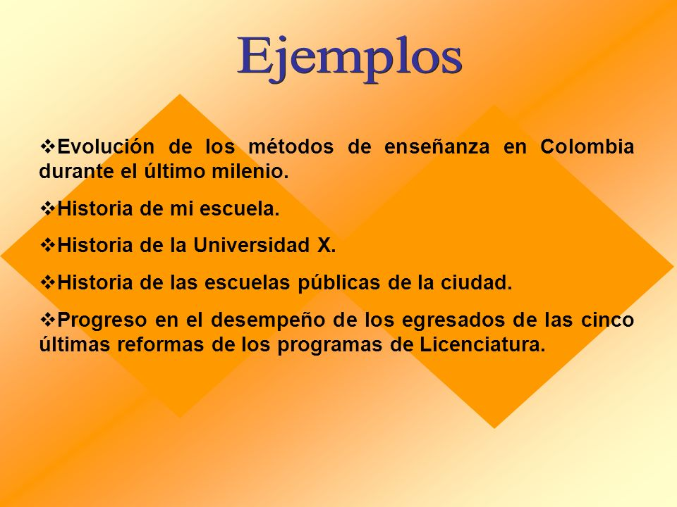 Ejemplos Evolución de los métodos de enseñanza en Colombia durante el último milenio. Historia de mi escuela.
