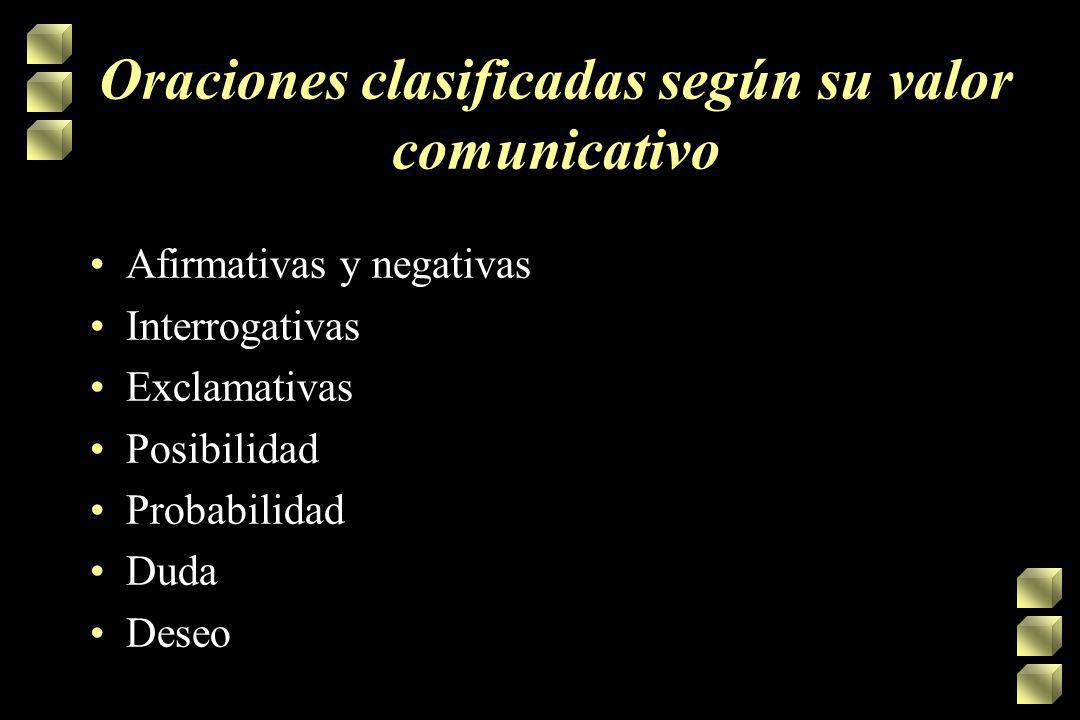 Oraciones clasificadas según su valor comunicativo
