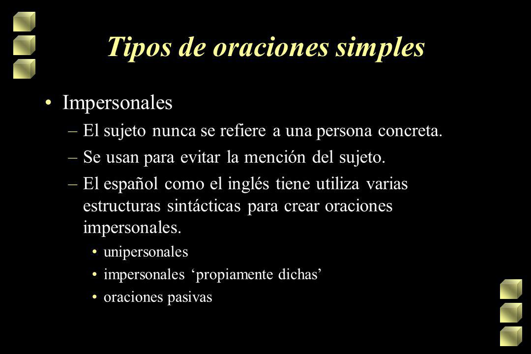 Tipos de oraciones simples