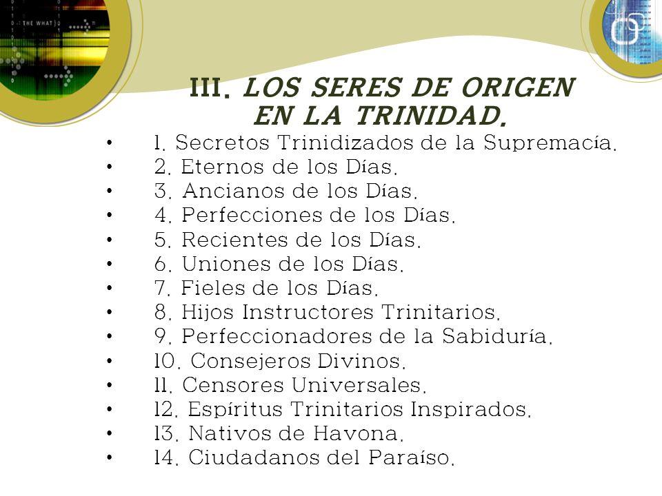 III. LOS SERES DE ORIGEN EN LA TRINIDAD.