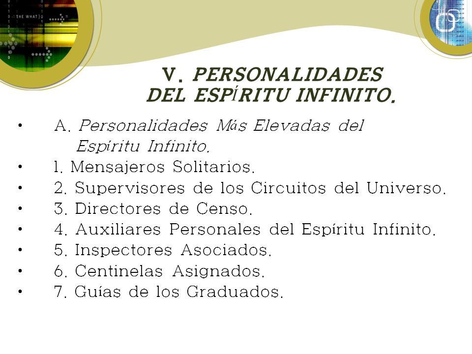 V. PERSONALIDADES DEL ESPÍRITU INFINITO.
