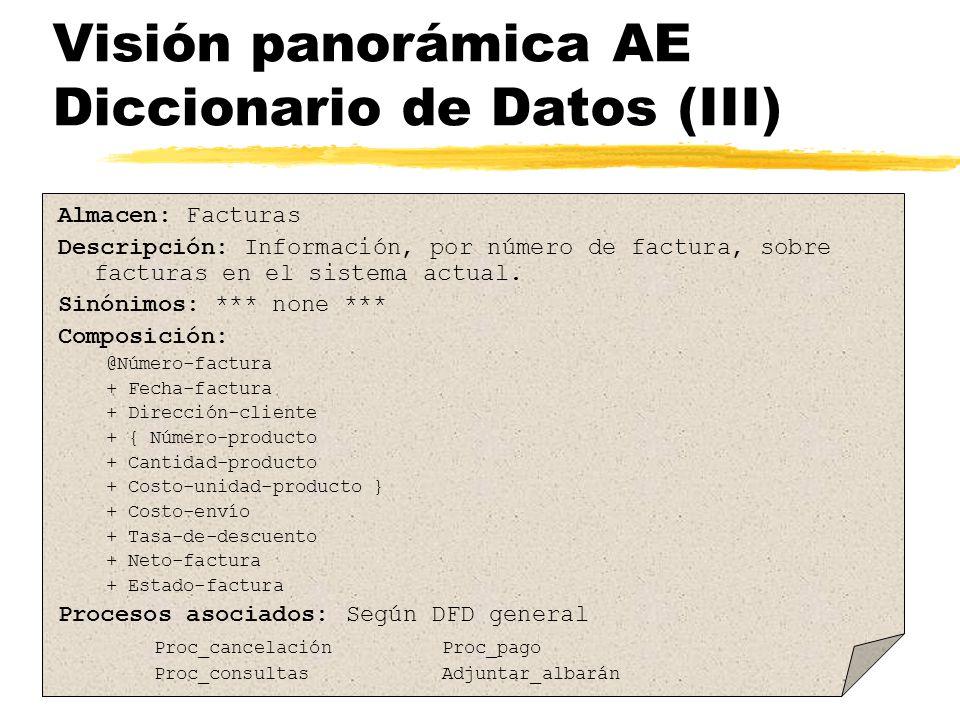 Visión panorámica AE Diccionario de Datos (III)