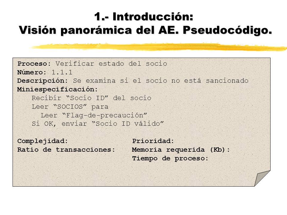 1.- Introducción: Visión panorámica del AE. Pseudocódigo.