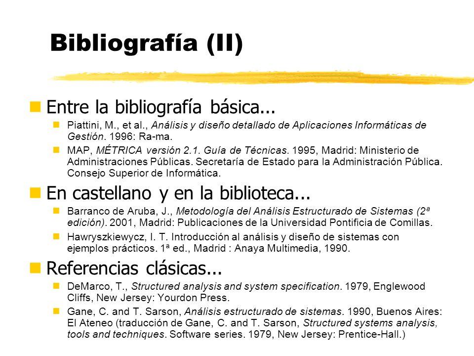 Bibliografía (II) Entre la bibliografía básica...