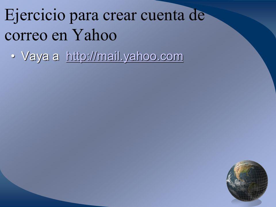Ejercicio para crear cuenta de correo en Yahoo