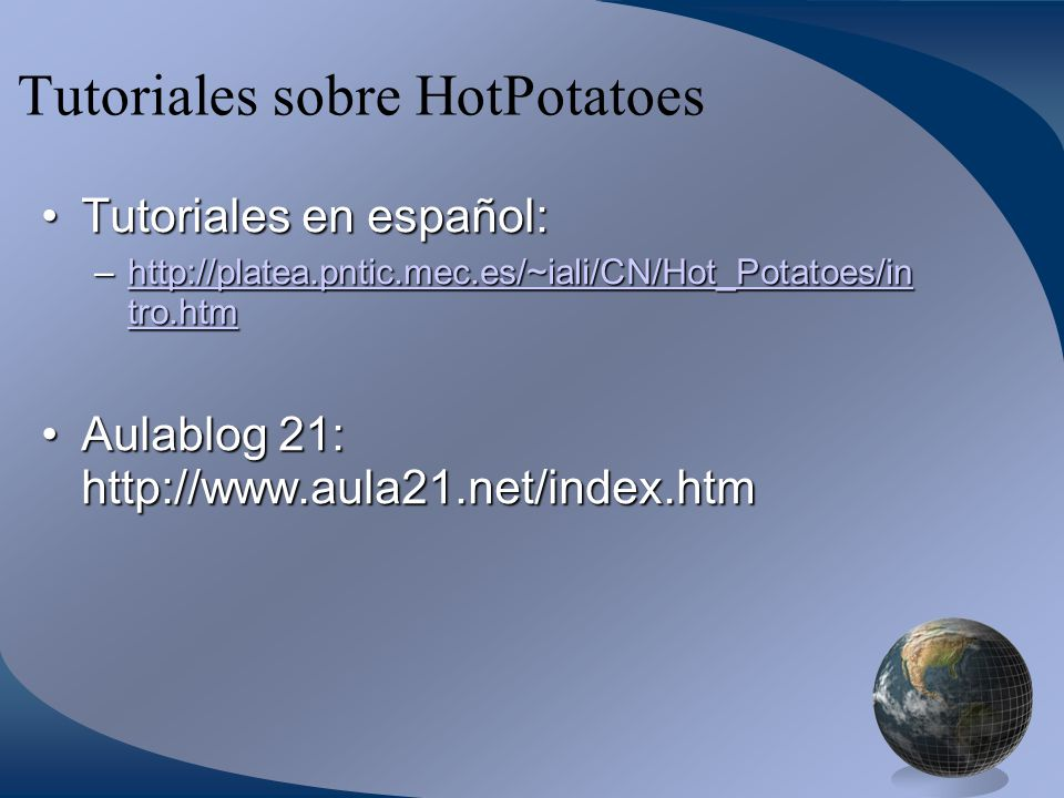 Tutoriales sobre HotPotatoes