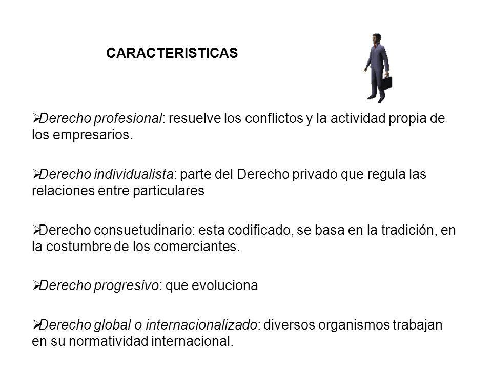 CARACTERISTICAS Derecho profesional: resuelve los conflictos y la actividad propia de los empresarios.