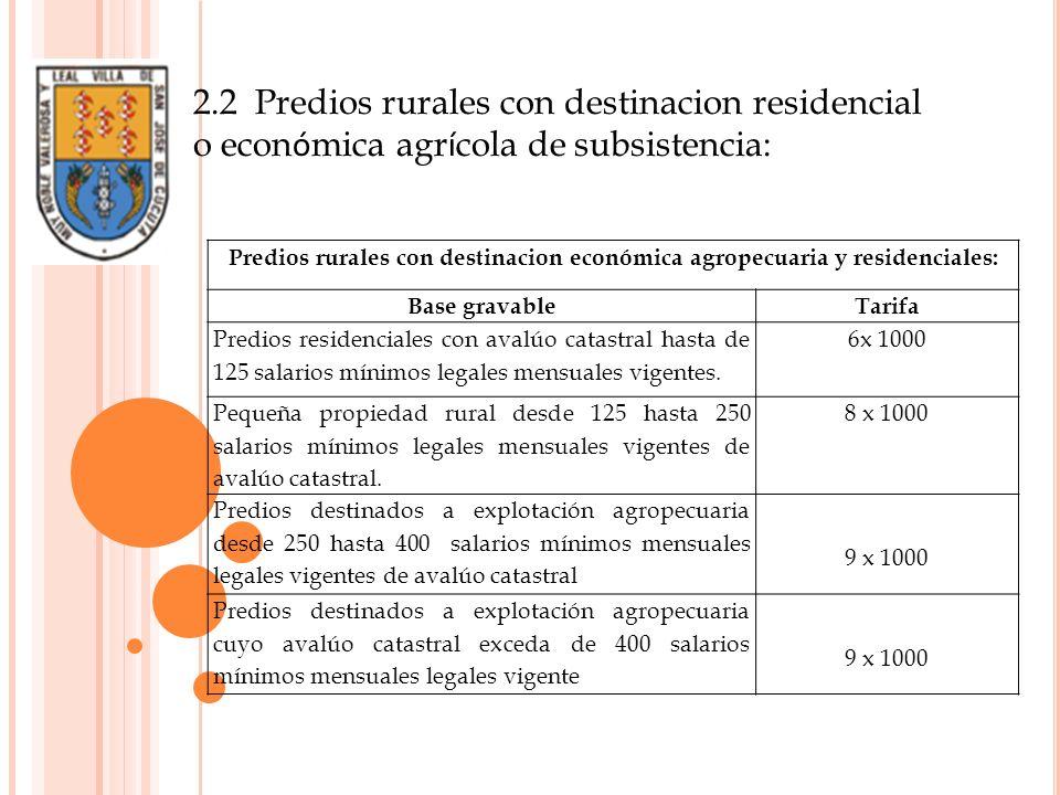 2.2 Predios rurales con destinacion residencial o económica agrícola de subsistencia: