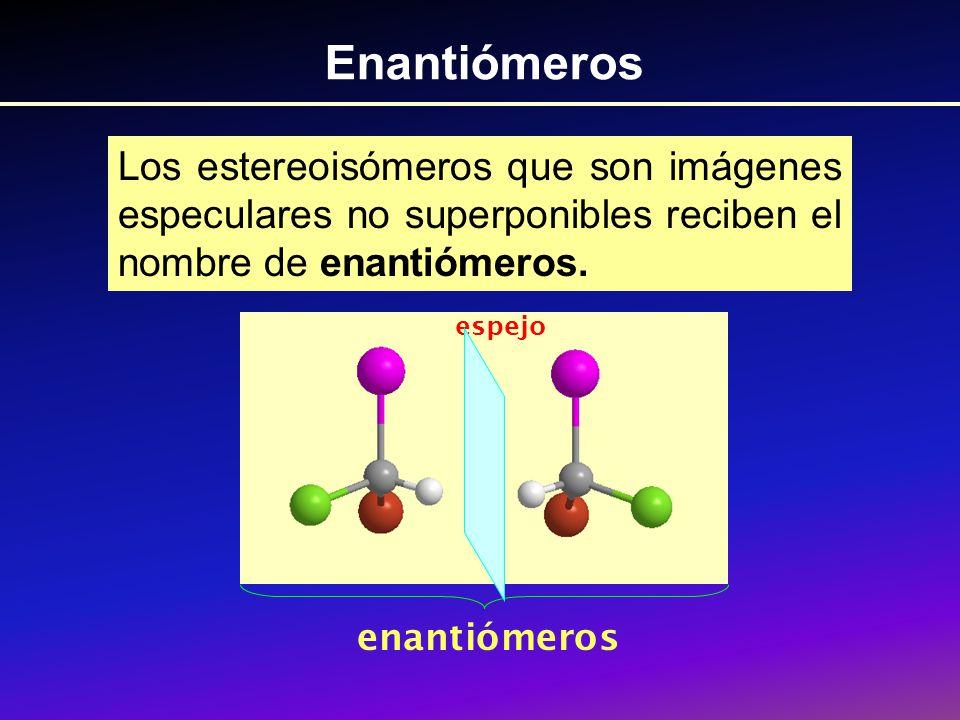 Enantiómeros Los estereoisómeros que son imágenes especulares no superponibles reciben el nombre de enantiómeros.