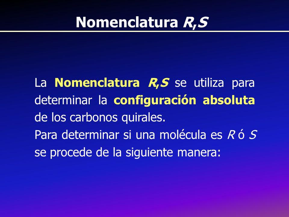 Nomenclatura R,S La Nomenclatura R,S se utiliza para determinar la configuración absoluta de los carbonos quirales.