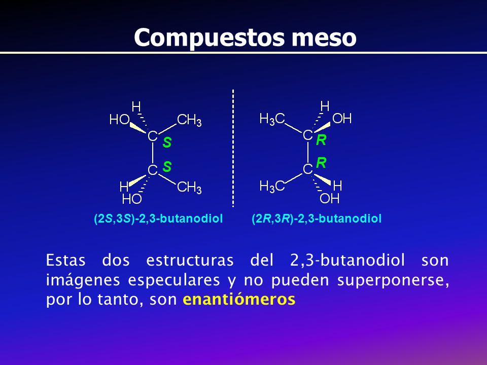 Compuestos meso S. R. (2S,3S)-2,3-butanodiol. (2R,3R)-2,3-butanodiol.