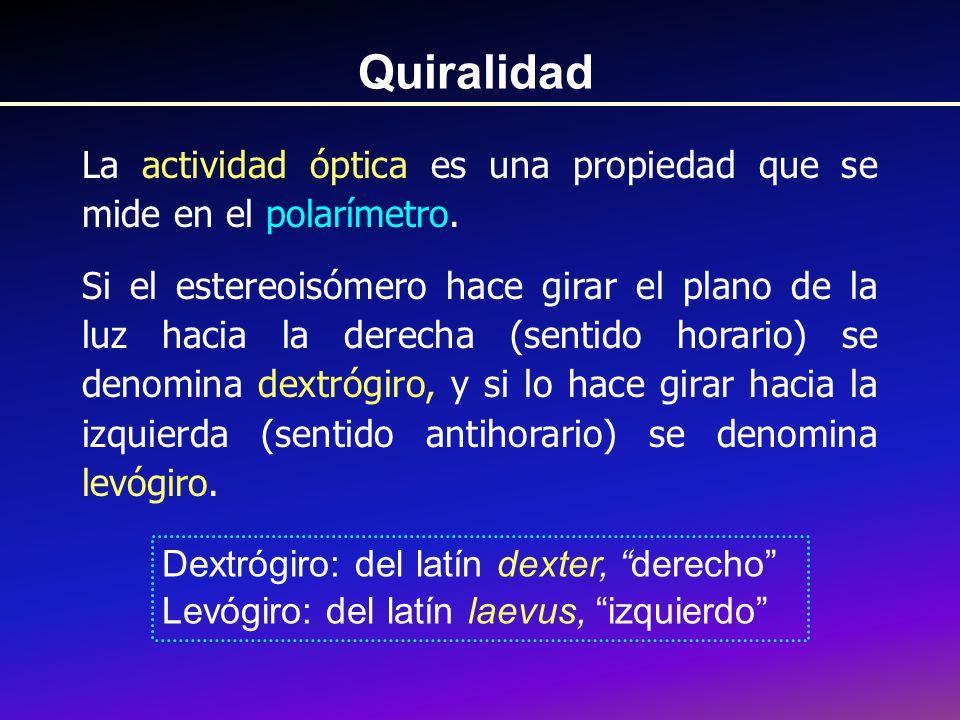 Quiralidad La actividad óptica es una propiedad que se mide en el polarímetro.