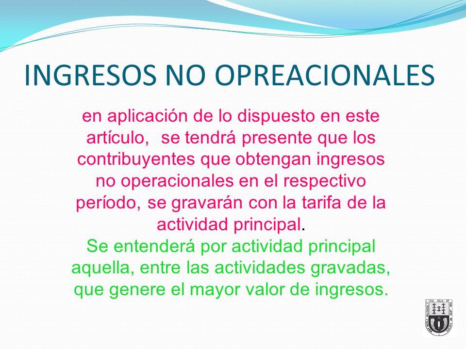 INGRESOS NO OPREACIONALES