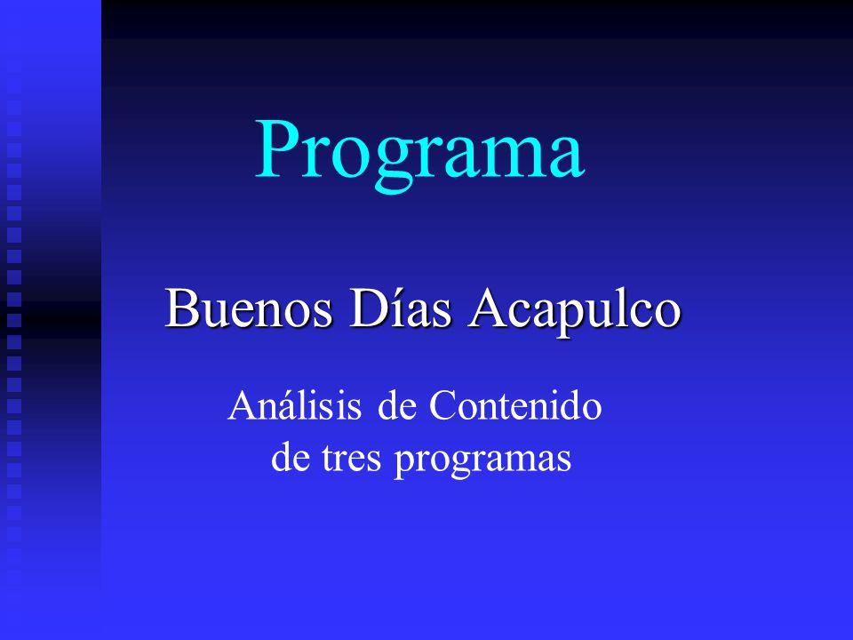 Programa Buenos Días Acapulco Análisis de Contenido de tres programas