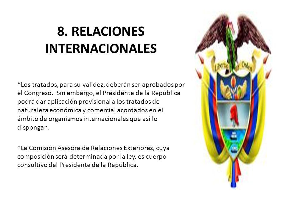 8. RELACIONES INTERNACIONALES