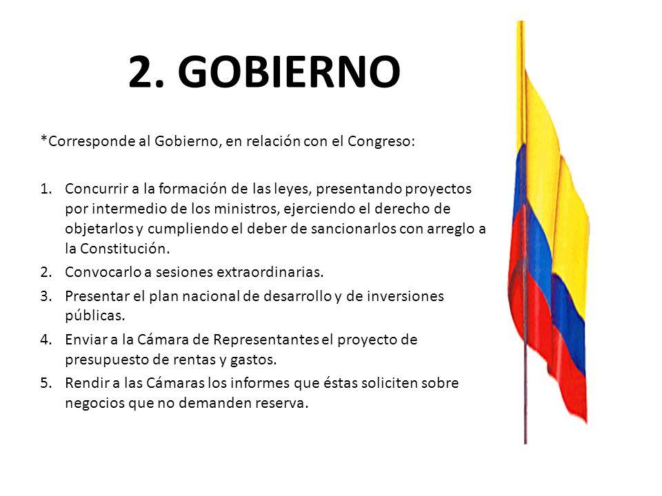 2. GOBIERNO *Corresponde al Gobierno, en relación con el Congreso: