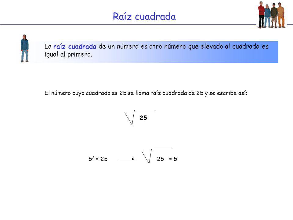 Raíz cuadrada La raíz cuadrada de un número es otro número que elevado al cuadrado es igual al primero.