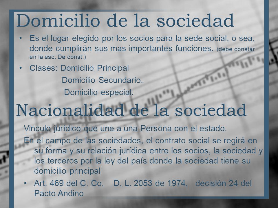 Domicilio de la sociedad