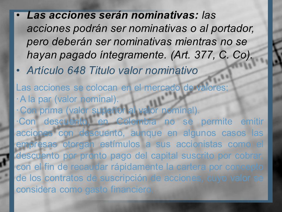 Artículo 648 Titulo valor nominativo