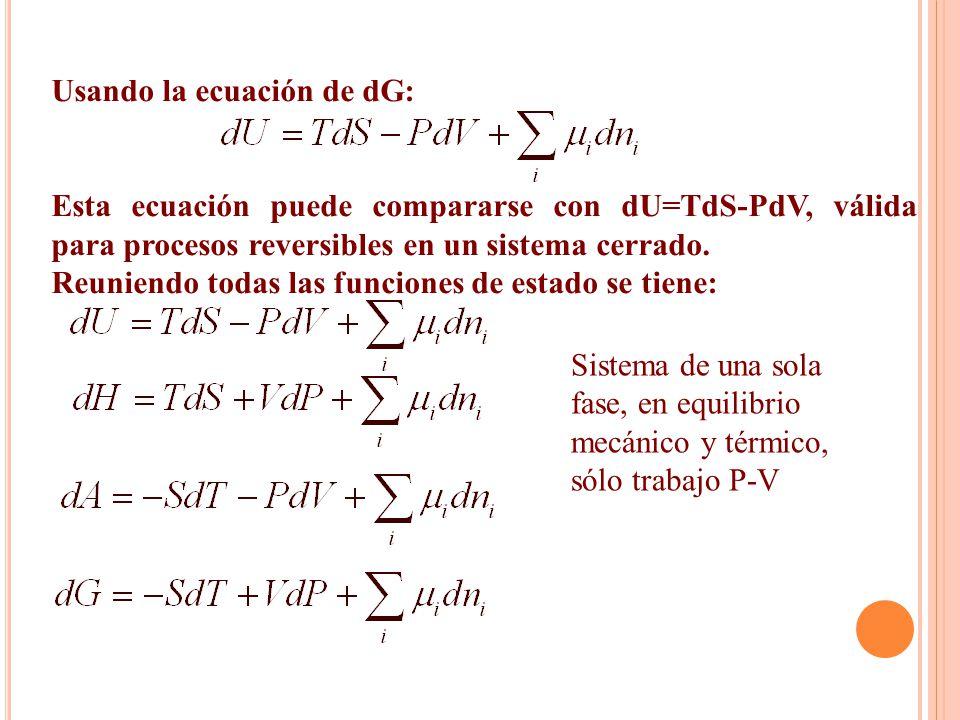 Usando la ecuación de dG: