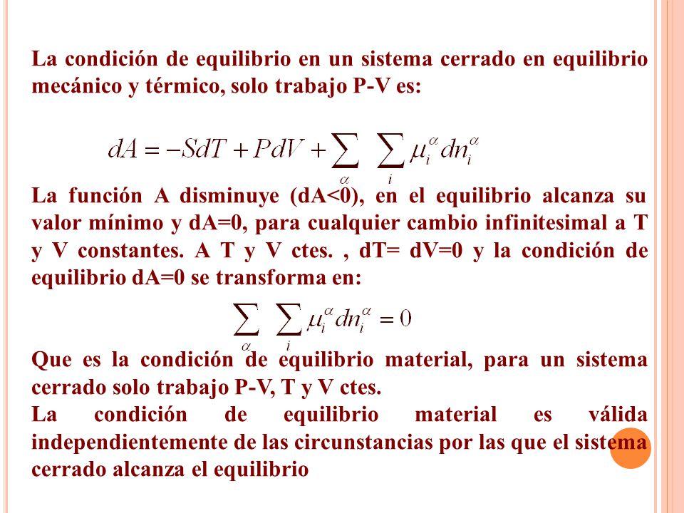 La condición de equilibrio en un sistema cerrado en equilibrio mecánico y térmico, solo trabajo P-V es: