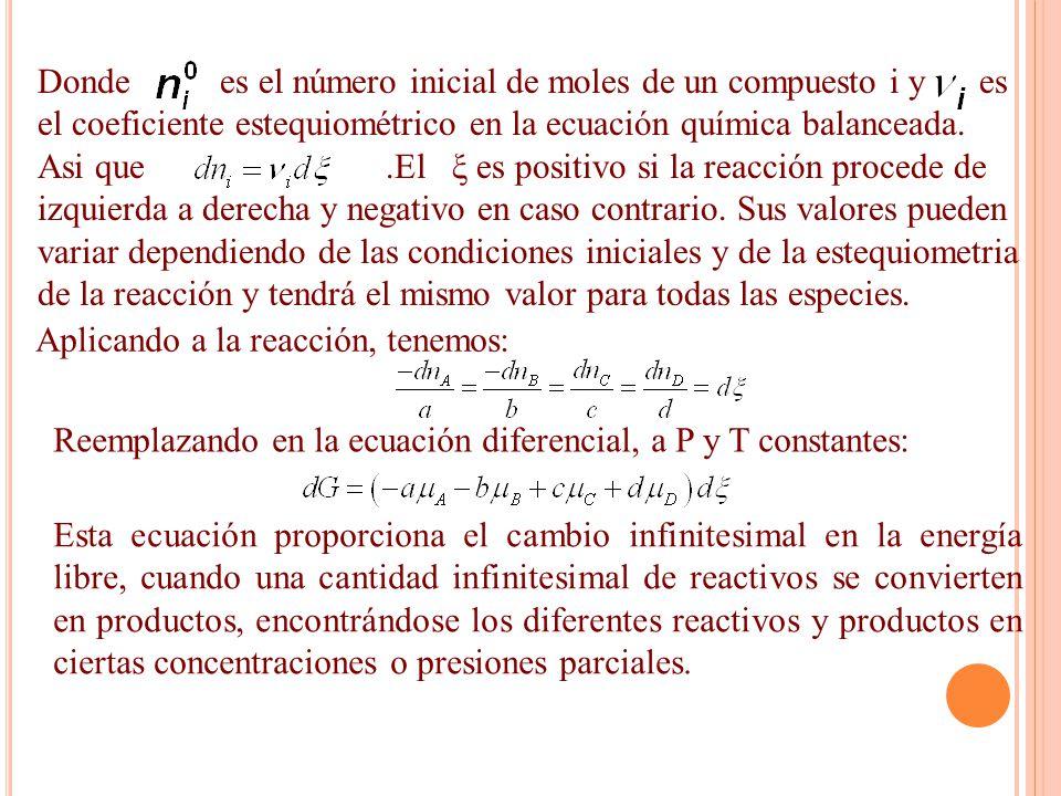 Donde es el número inicial de moles de un compuesto i y es el coeficiente estequiométrico en la ecuación química balanceada.