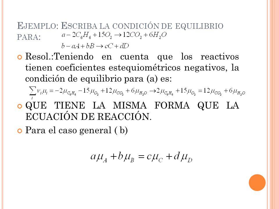 Ejemplo: Escriba la condición de equilibrio para: