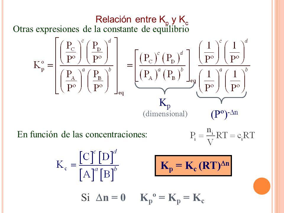 Kp (Pº)-Dn Kp = Kc (RT)Dn Si Dn = 0 Kpº = Kp = Kc