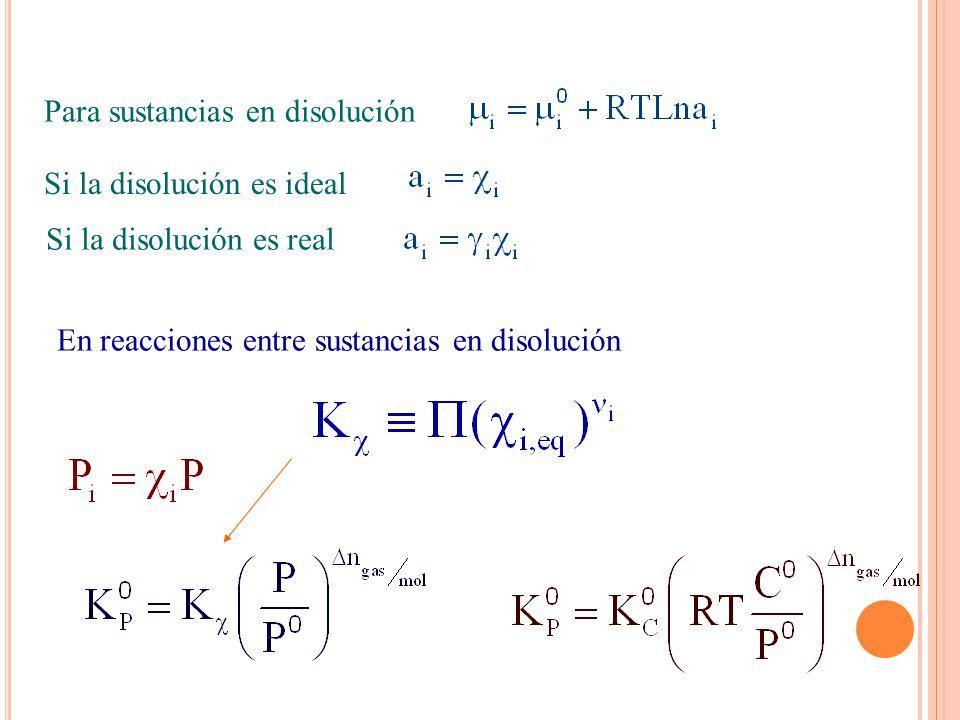 Para sustancias en disolución