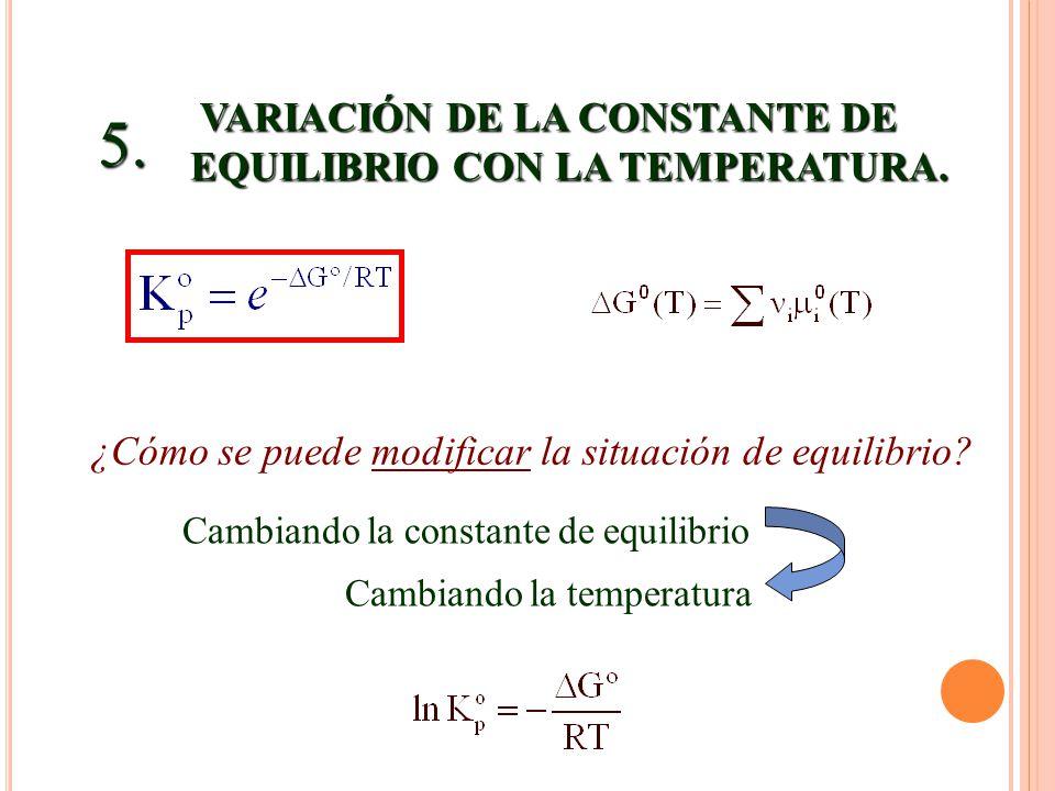 5. VARIACIÓN DE LA CONSTANTE DE EQUILIBRIO CON LA TEMPERATURA.