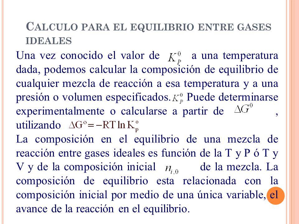 Calculo para el equilibrio entre gases ideales