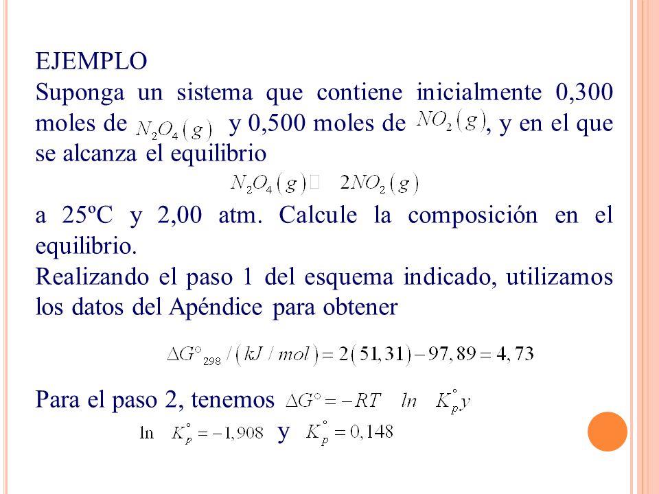 EJEMPLO Suponga un sistema que contiene inicialmente 0,300 moles de y 0,500 moles de , y en el que se alcanza el equilibrio.