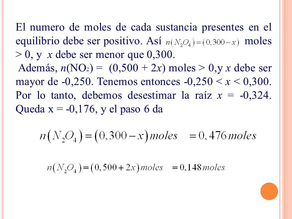 El numero de moles de cada sustancia presentes en el equilibrio debe ser positivo. Así moles > 0, y x debe ser menor que 0,300.