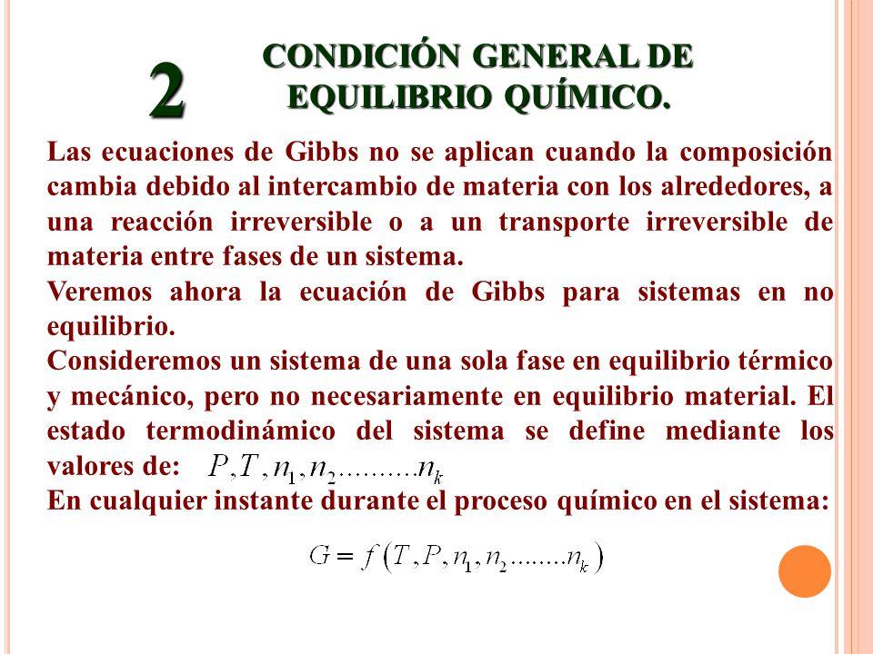 CONDICIÓN GENERAL DE EQUILIBRIO QUÍMICO.