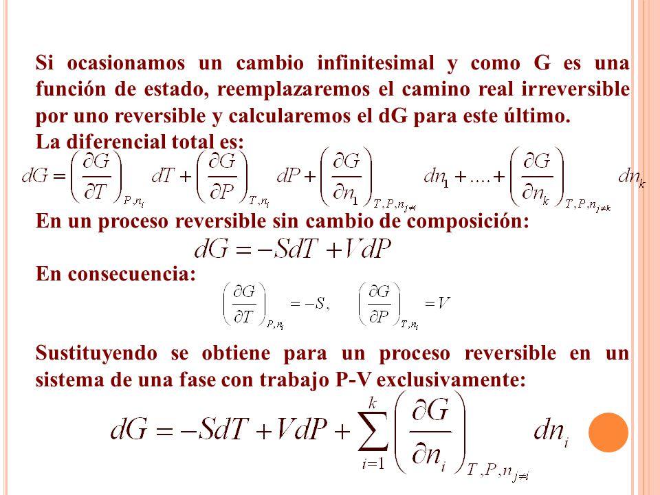 Si ocasionamos un cambio infinitesimal y como G es una función de estado, reemplazaremos el camino real irreversible por uno reversible y calcularemos el dG para este último.