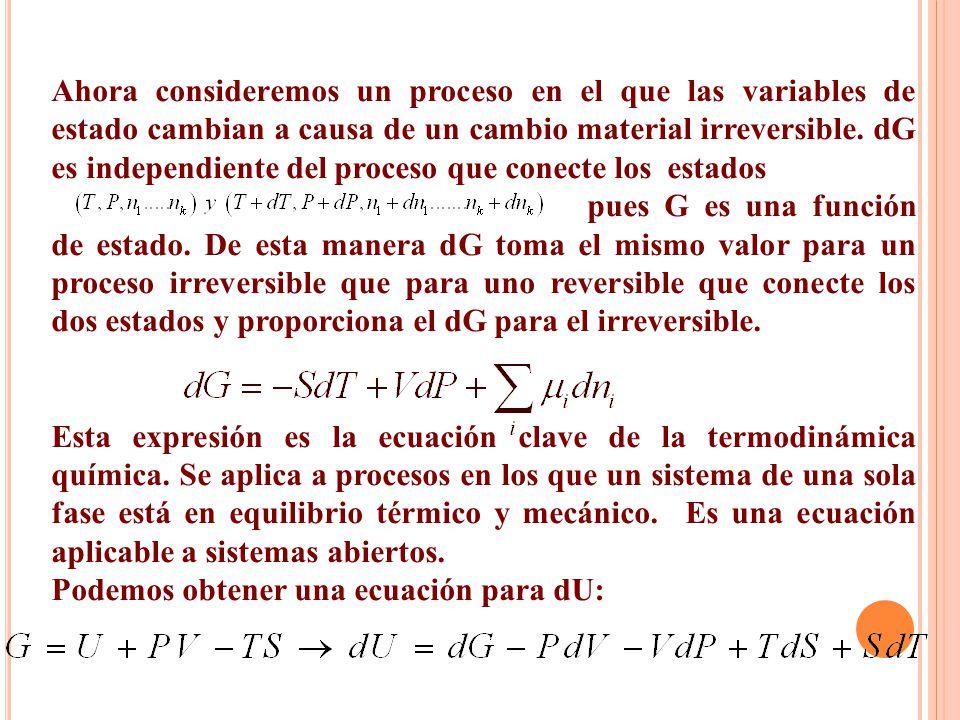 Ahora consideremos un proceso en el que las variables de estado cambian a causa de un cambio material irreversible. dG es independiente del proceso que conecte los estados