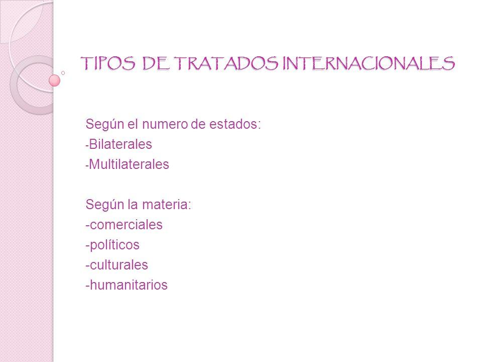 TIPOS DE TRATADOS INTERNACIONALES