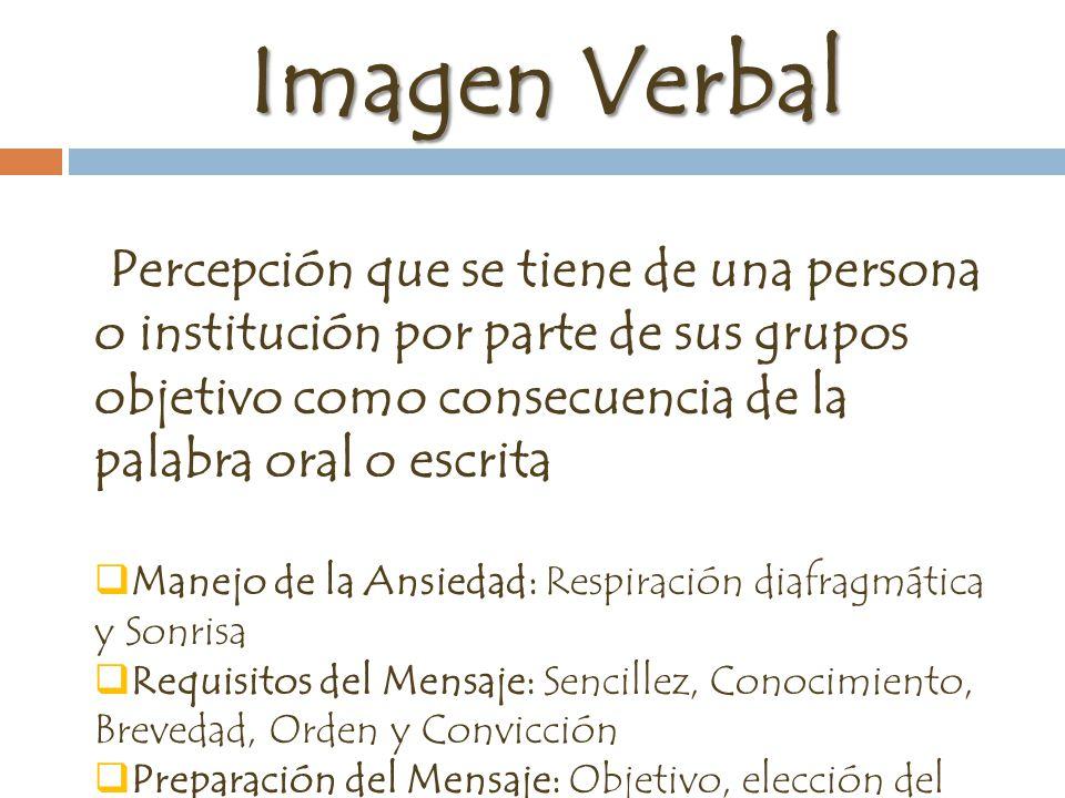 Imagen Verbal Percepción que se tiene de una persona o institución por parte de sus grupos objetivo como consecuencia de la palabra oral o escrita.