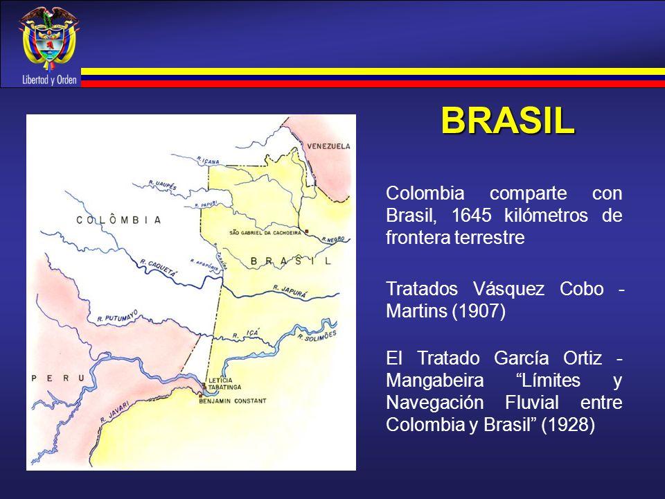 BRASIL Colombia comparte con Brasil, 1645 kilómetros de frontera terrestre. Tratados Vásquez Cobo -Martins (1907)