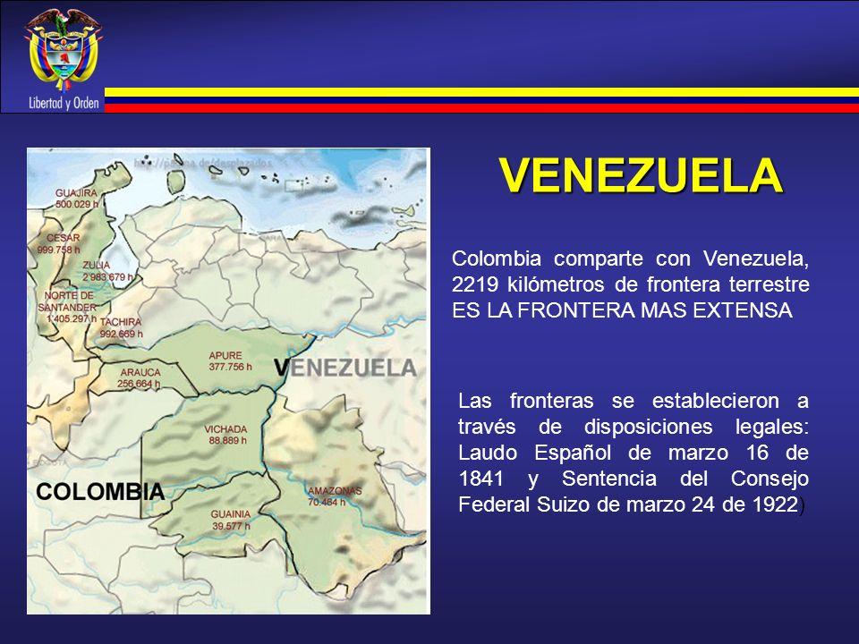 VENEZUELA Colombia comparte con Venezuela, 2219 kilómetros de frontera terrestre ES LA FRONTERA MAS EXTENSA.
