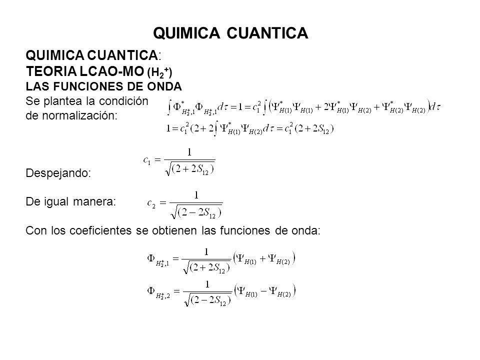 QUIMICA CUANTICA QUIMICA CUANTICA: TEORIA LCAO-MO (H2+)