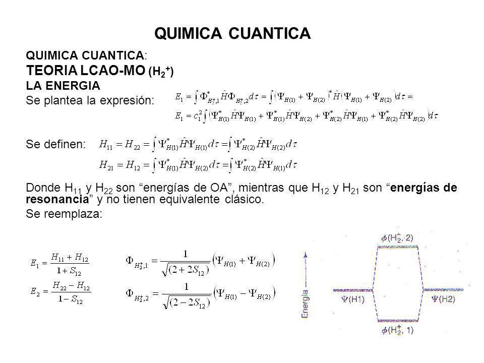 QUIMICA CUANTICA TEORIA LCAO-MO (H2+) QUIMICA CUANTICA: LA ENERGIA
