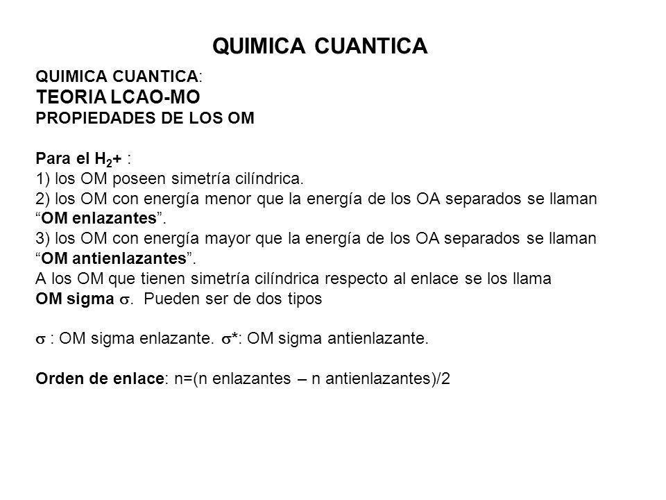 QUIMICA CUANTICA TEORIA LCAO-MO QUIMICA CUANTICA: