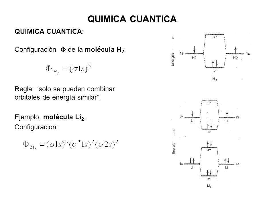 QUIMICA CUANTICA QUIMICA CUANTICA: Configuración  de la molécula H2: